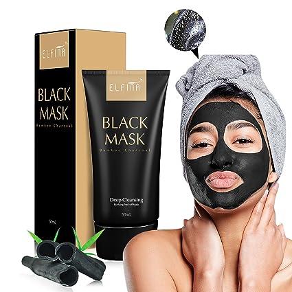 Elfina Máscara facial de barro negro, removedor de espinillas rasgón Estilo Limpieza profunda Purificante pelar
