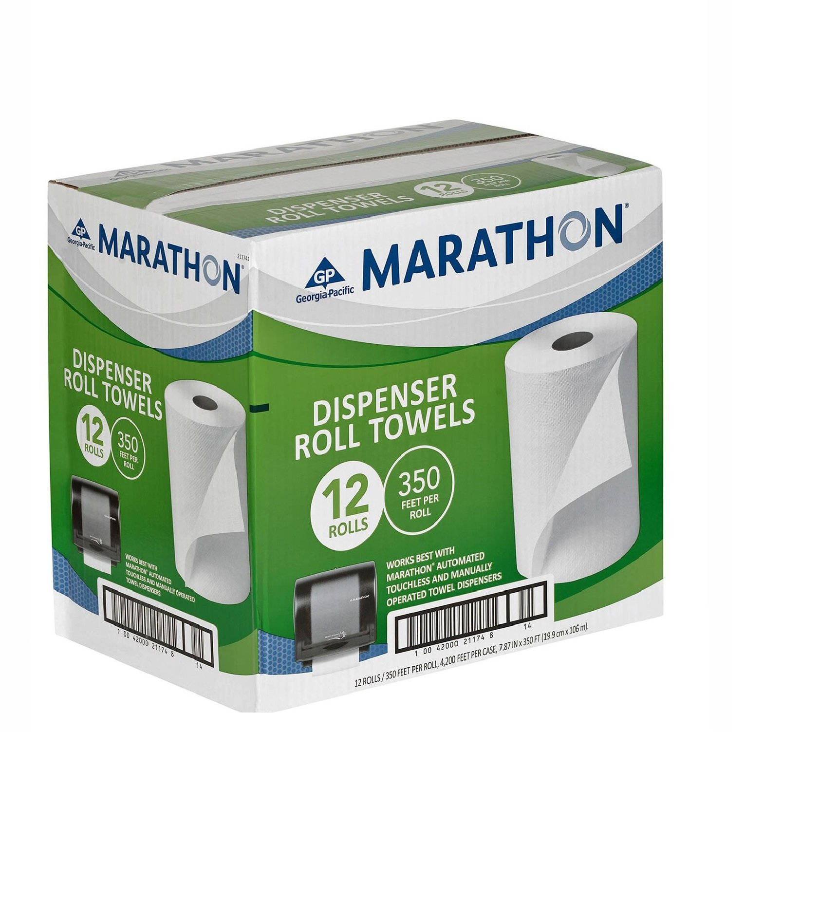Marathon Dispenser Roll Towels 12 Rolls for Marathon Commercial Kitchen Bathroom Towel Dispensers Bulk Case 4,200