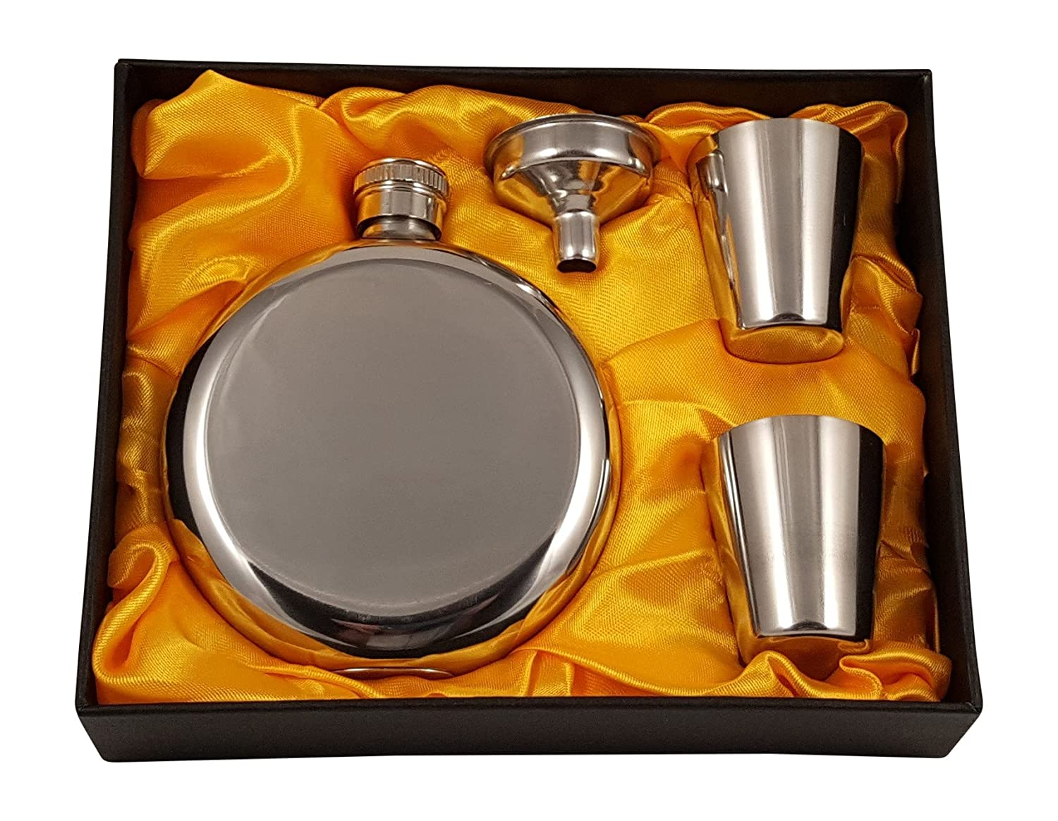 5 oz Round Flask Gift Set with Two Shot Glasses and Funnel in a Black Gift Box