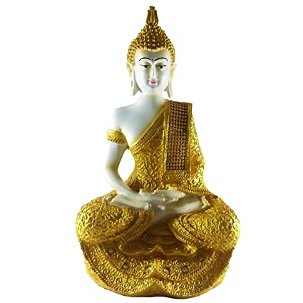 Sacred Blessings� White Meditating Sitting Buddha Statue 28 cm(H) X 16 cm(L) X 14 cm(W) Home Decor Showpiece Idol Feng Shui Gift