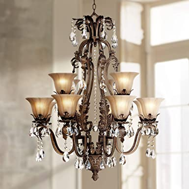 Iron Leaf 34 Wide Bronze and Crystal 12-Light Chandelier