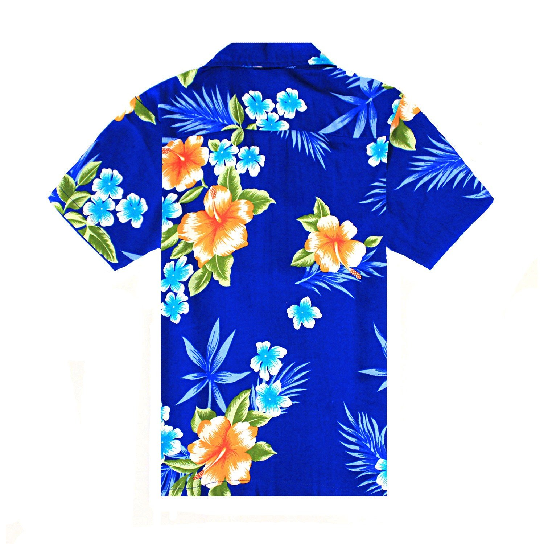 Boy Hawaiian Aloha Shirt in Hibiscus Blue Size 10 by Hawaii Hangover (Image #2)
