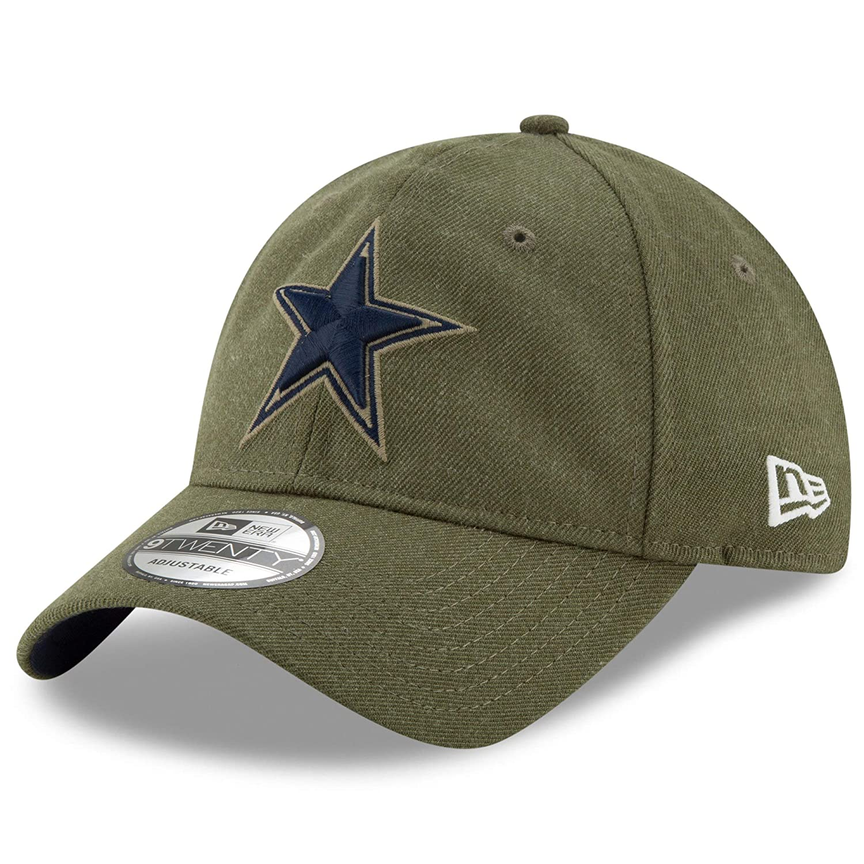 d5c9074d2d3 Amazon.com  New Era Authentic Dallas Cowboys 2018 Salute to Service  Sideline 9TWENTY Adjustable Hat – Olive  OSFM  Sports   Outdoors