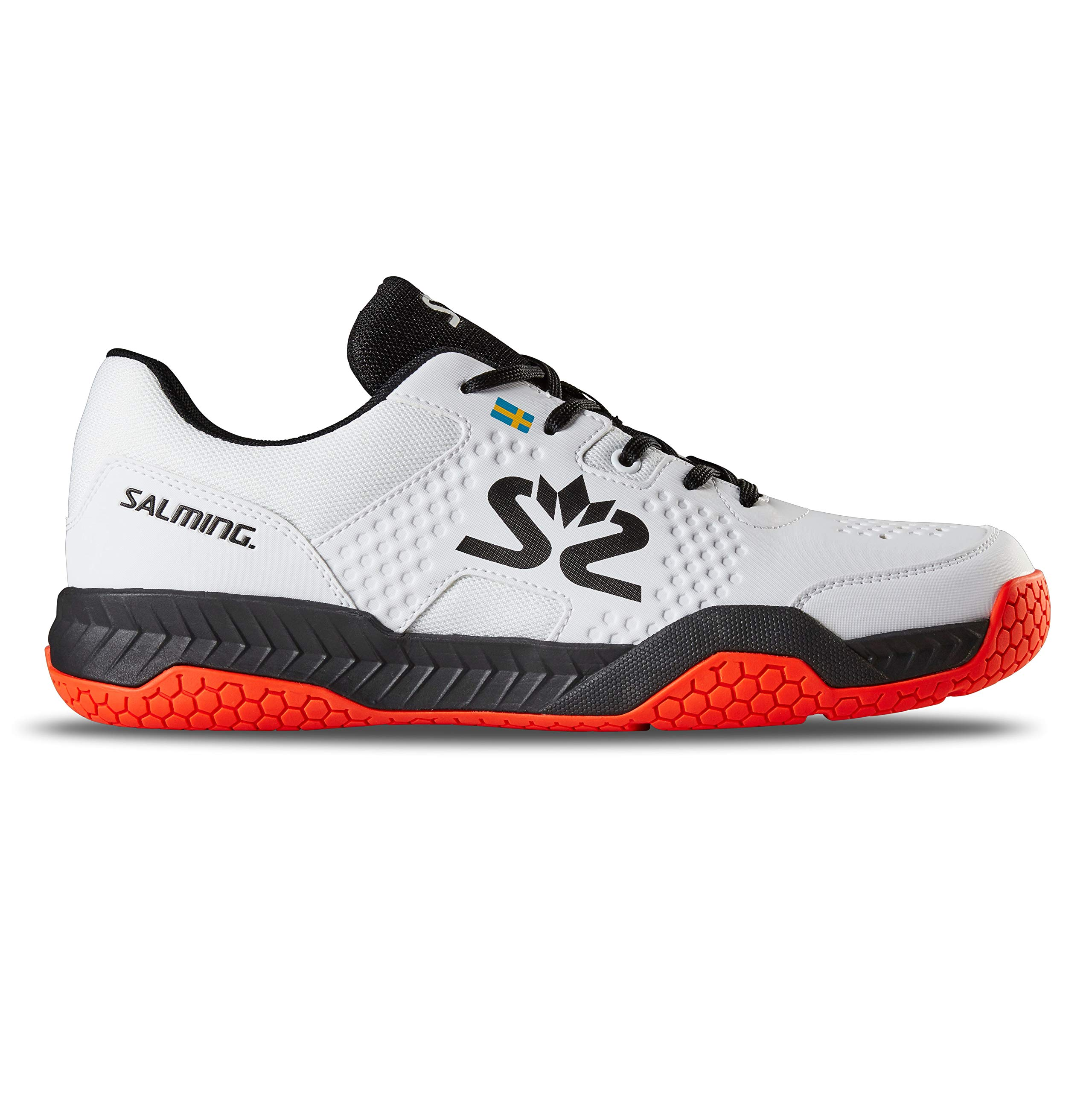 Salming Men's Hawk Court Squash Indoor Multisport Shoes, White/Black/New FlameRed, 8 by Salming