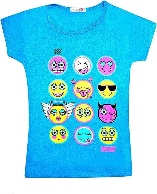Girls Kids Emoji Print Face Fashion Top T-Shirt 2 3 4 5 7 8 9 10 11 12 13 Years