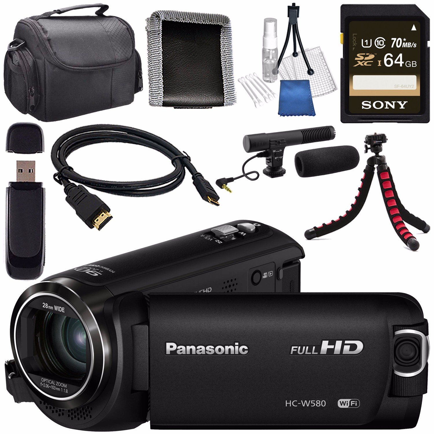 Panasonic HC-W580 HC-W580K Full HD Camcorder with Twin Camera + Sony 64GB SDXC Card + Flexible Tripod + Carrying Case + Memory Card Wallet + Card Reader + Mini HDMI Cable + Condenser Mic Bundle