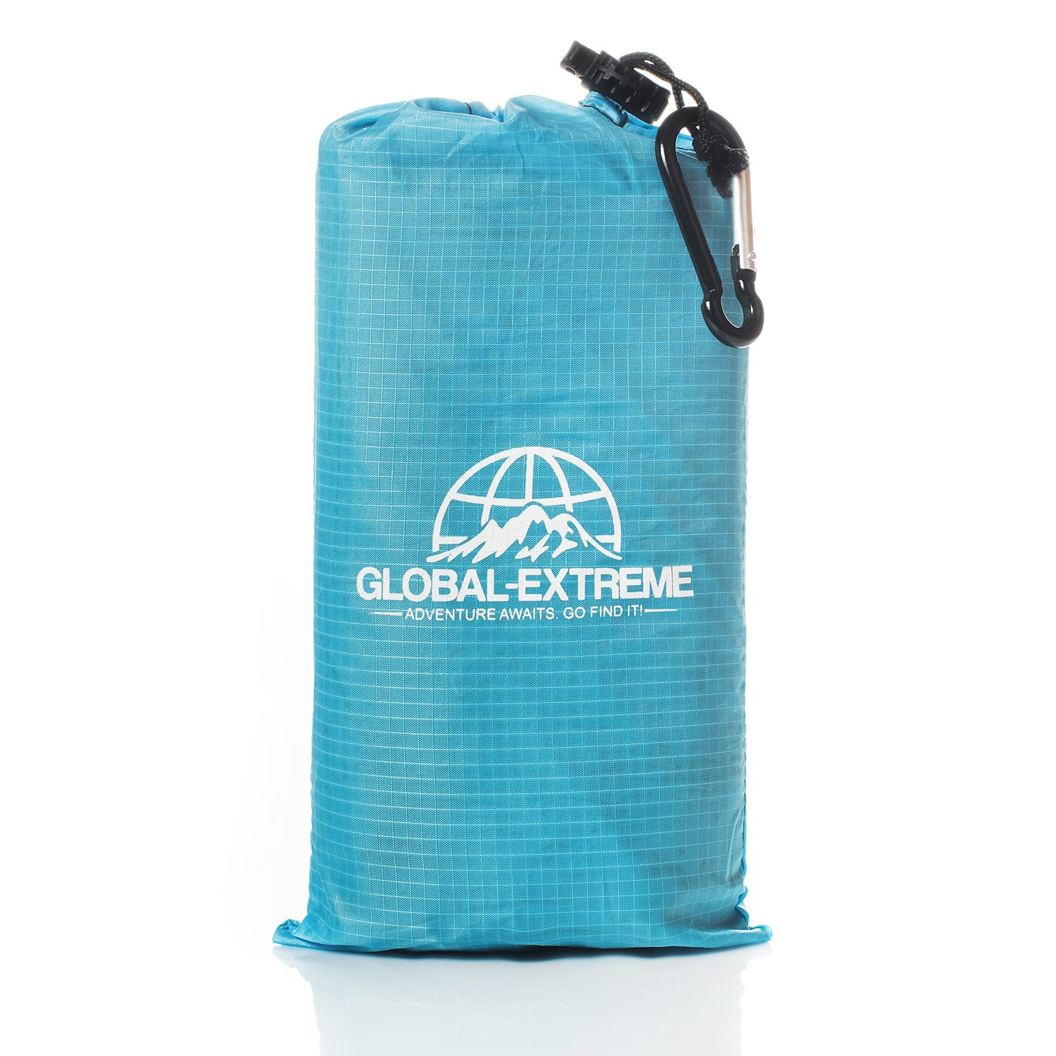 Pocket Blanket - ideal for outdoor picnic hiking camping beach – ultra light waterproof puncture resistant pockets blankets - 4 metal stakes - with flint fire starter – emergency thermal foil by Global-Extreme