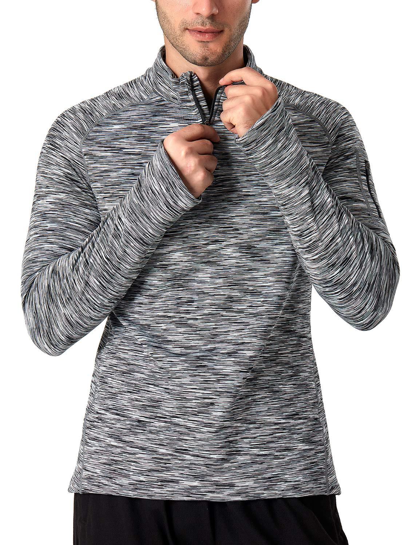 Grau//Blau NAVISKIN Herren Laufshirt Warm Funktionsshirt 1//4 Zip Langarmshirt Langlaufshirt Winter