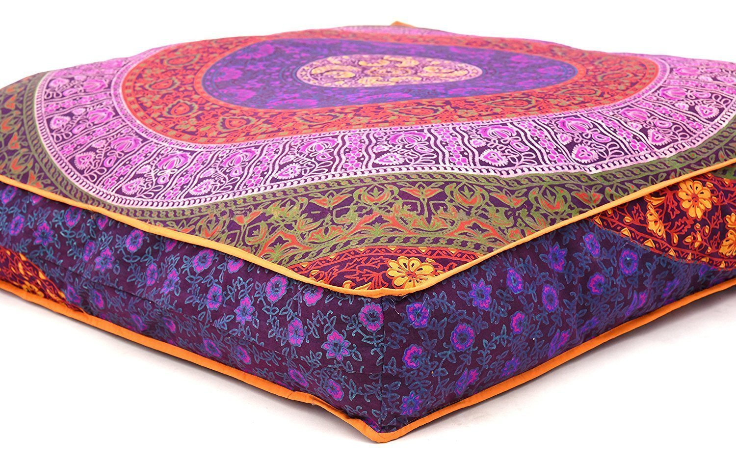 yuvancrafts Square Mandala Floor Pillow Indian Cushion Cover Floor Pillow Sham Ottoman Floor Pouf Oversized Sofa Large Dog Bed 32''X32'' (Pillow Cover)