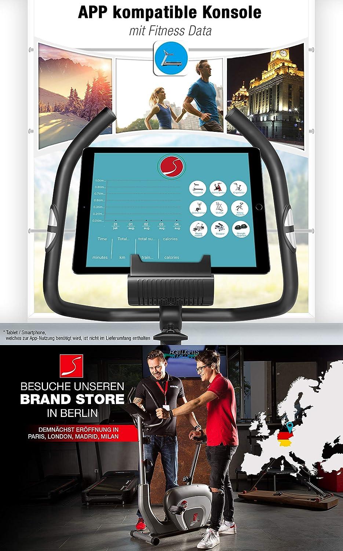 Smartphone APP Steuerung Fahrrad-Trainer Pulsmesser Hometrainer mit Magnetbremssystem Bluetooth Tablethalterung Fitness-Bike 10kg Schwungmasse Sportstech ES400 Ergometer Heimtrainer
