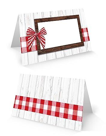 25 Rot Weiss Karierte Bayerische Schleife Blanko Tischkarten