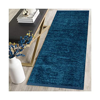 ARFA HOME FURNISHING Polyester Blend Soft Indoor Modern Shag Area Rug Carpet with Feather Touch for Dining Room, Home Bedroom (22X48 Inch, Blue)