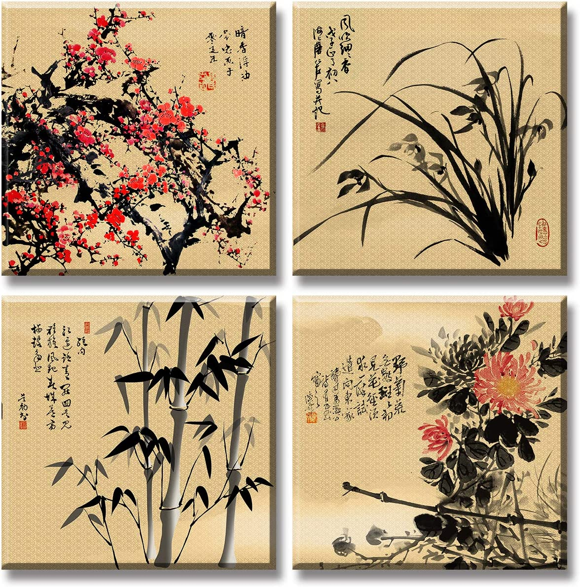 Chinese Ink Painting Canvas Wall Art Plum Blossoms Orchid Bamboo Chrysanthemum Calligraphy Tradition Modern Culture Decor Pictures New Chinese Style Home Decoration Stretched and Framed Ready to Hang