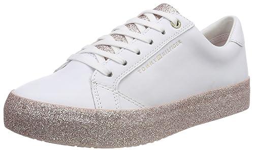 Tommy Hilfiger Sparkle Outsole Glitter Sneaker, Zapatillas para Mujer, Blanco (White-Pink 100), 40 EU: Amazon.es: Zapatos y complementos