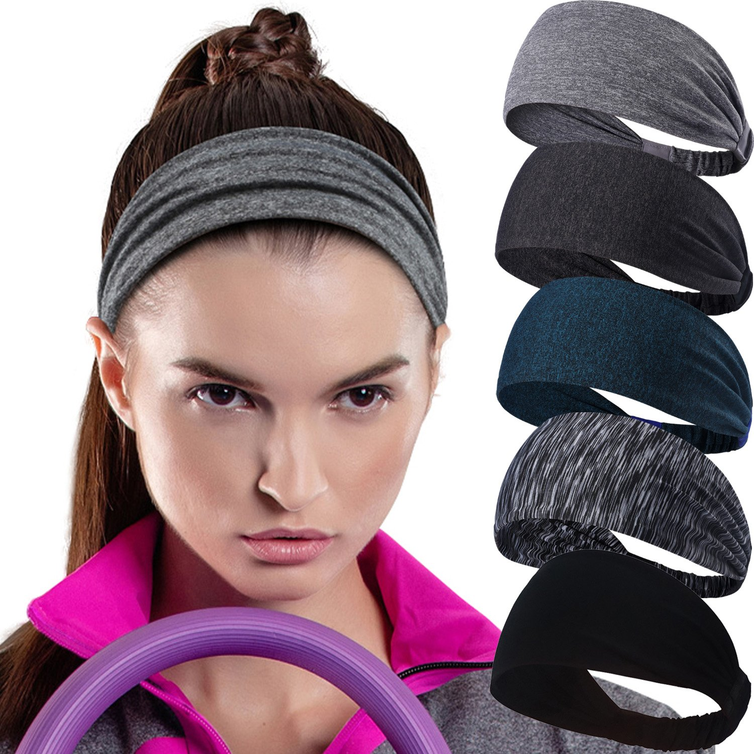 Calbeing Headband for Womens Workout Sweatband Headscarf Head wrap Hairband Stretchy Soft Hair Head Band Set Sports Fitness Exercise Tennis Running Gym Yoga Dance Set of 5 by Calbeing