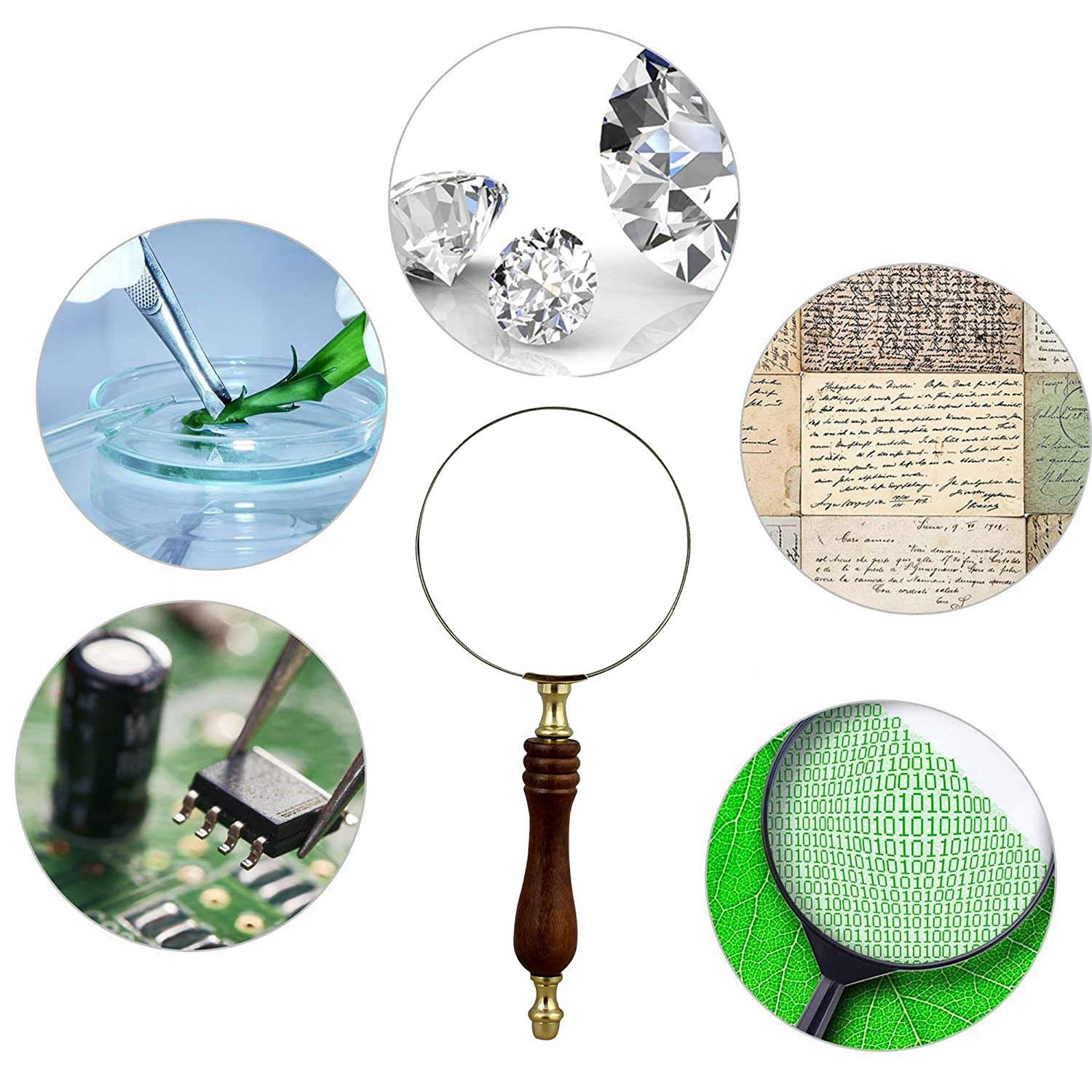 RoyaltyRoute Large Classic Magnifying Glass Hand Held Wooden Handle Magnifier Diameter 101.6 MM nautical/_magnifying/_glass/_002