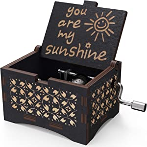 Black Vintage Music Box You are My Sunshine,Personalizable Wood Engraved Handmade Sunshine Musical Boxes Gifts for Birthday/Christmas (Black#2)