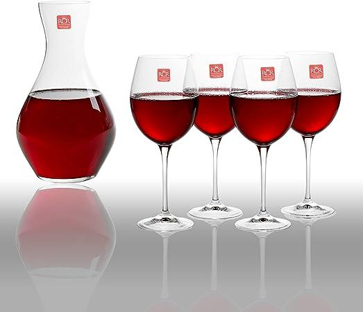 RCR Toscana cristal Luxion Carafe à décanter en verre et 4 verres à vin rouge Coffret cadeau