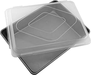 G & S Metal Products Company Signature Commercial Grade Nonstick Covered Bake & Roast Baking Pan, 12.5'' x 9.1'' x 2.5'', Gray