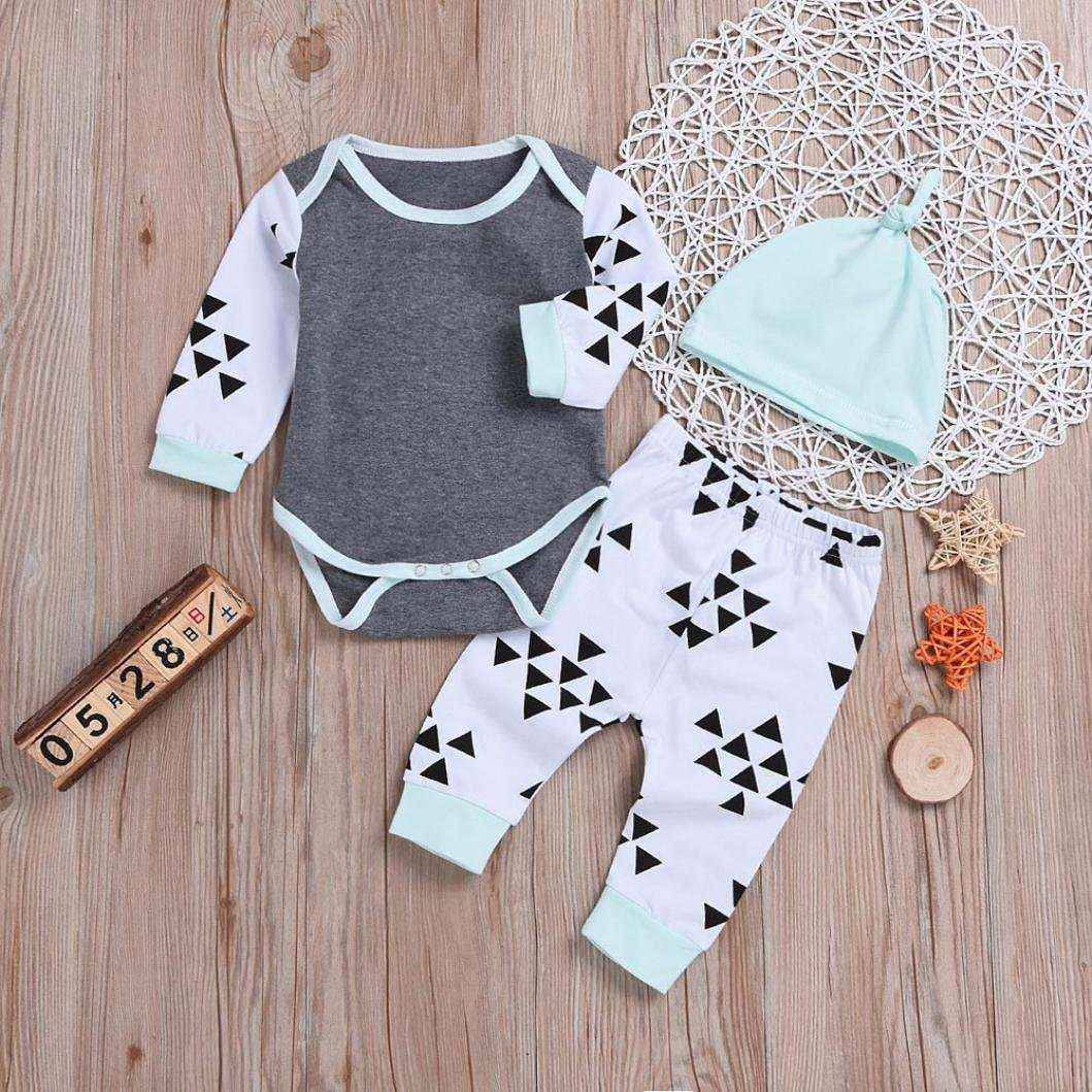 kaiCran Newborn Baby Boys Girls Long Sleeves Autumn Clothes Sets Print Romper+Pants+Headband Outfits