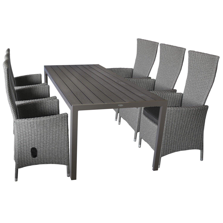 WOHAGA® Gartengarnitur 7-teilig Sitzgarnitur Sitzgruppe Gartenmöbel ...