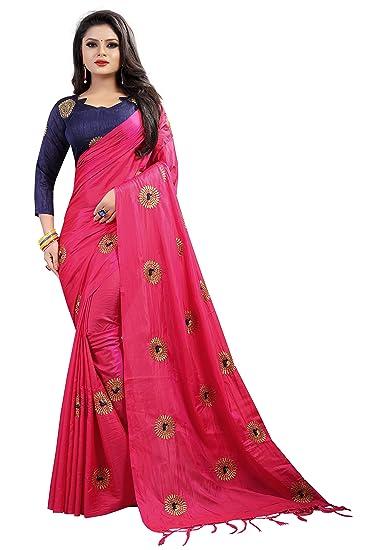 d9832bcac7 FabPandora Women's Cotton Silk Saree with Blouse Piece (Pink ...