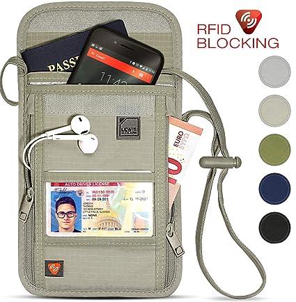 4327ea40321f Lewis N. Clark RFID Blocking Stash Neck Wallet, Travel Pouch + Passport  Holder for Women & Men, Taupe