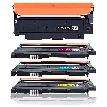 fituwork cartucho de tóner para Samsung CLT-K406S CLT-C406S CLT ...