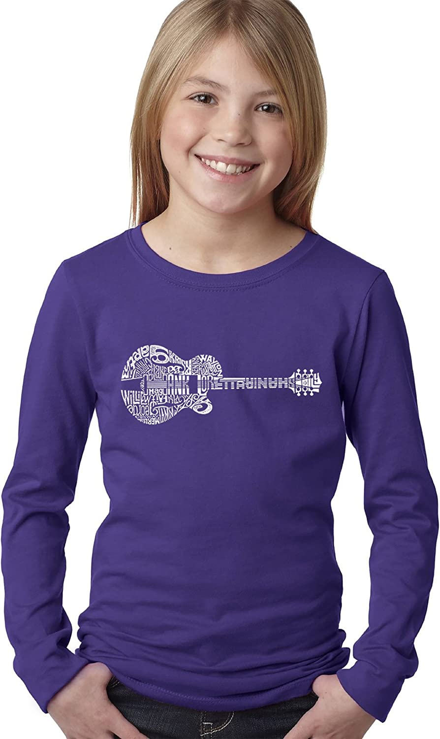 Girls Long Sleeve Word Art T-Shirt Country Guitar LA Pop Art