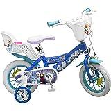 Toimsa 010681 - Vélo pour Fille DE 3 À 5 Ans - Licence Frozen - La Reine des Neiges - Bleu Et Blanc - Modèle Aléatoire