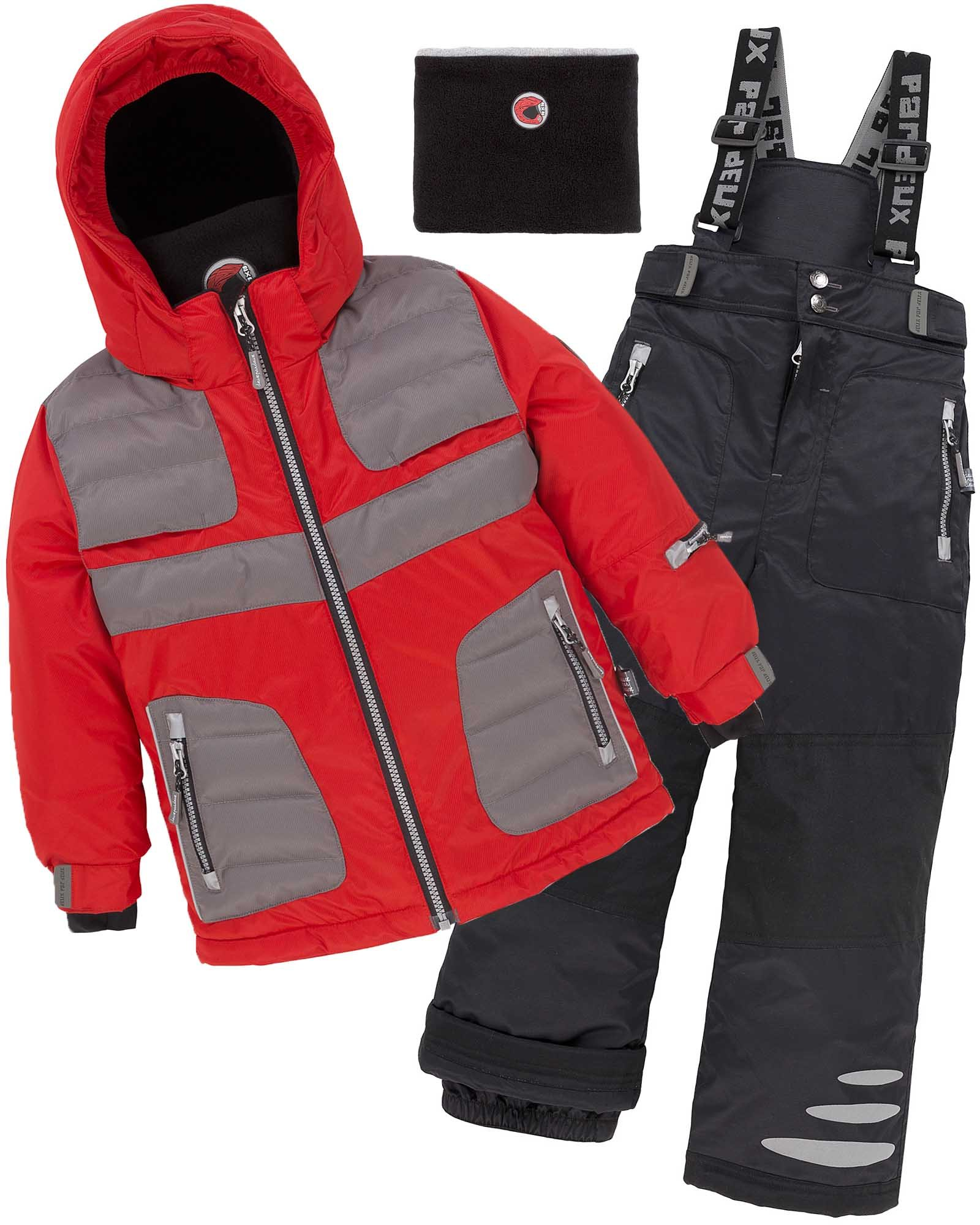 Deux par Deux Boys' 2-Piece Snowsuit Off the Mark Red, Sizes 5-14 - 8 by Deux par Deux