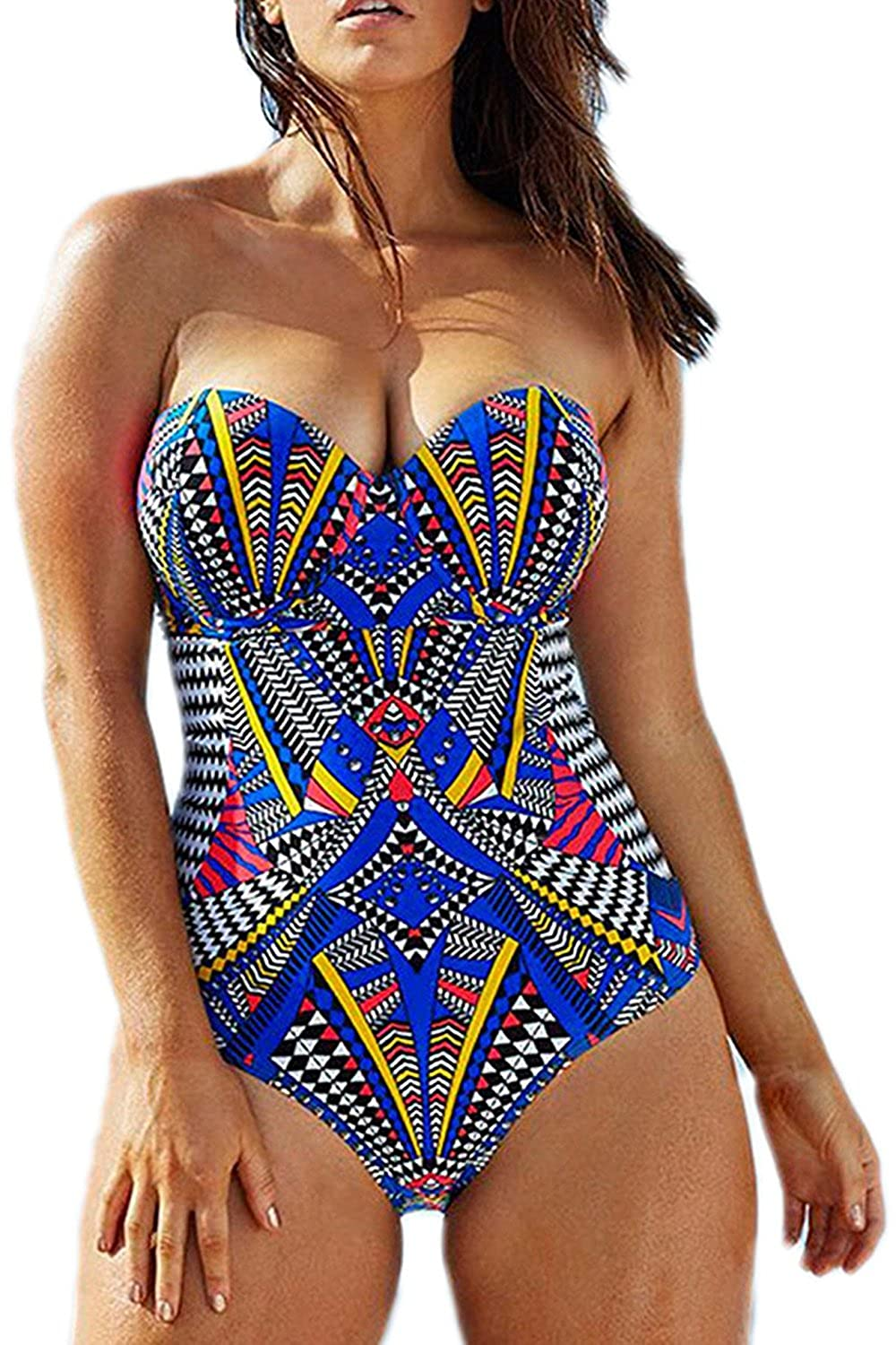 Womens Tribal Printed Plus Size One Piece Swimsuits Bandeau Slimming Control Athletic Bathing Suit