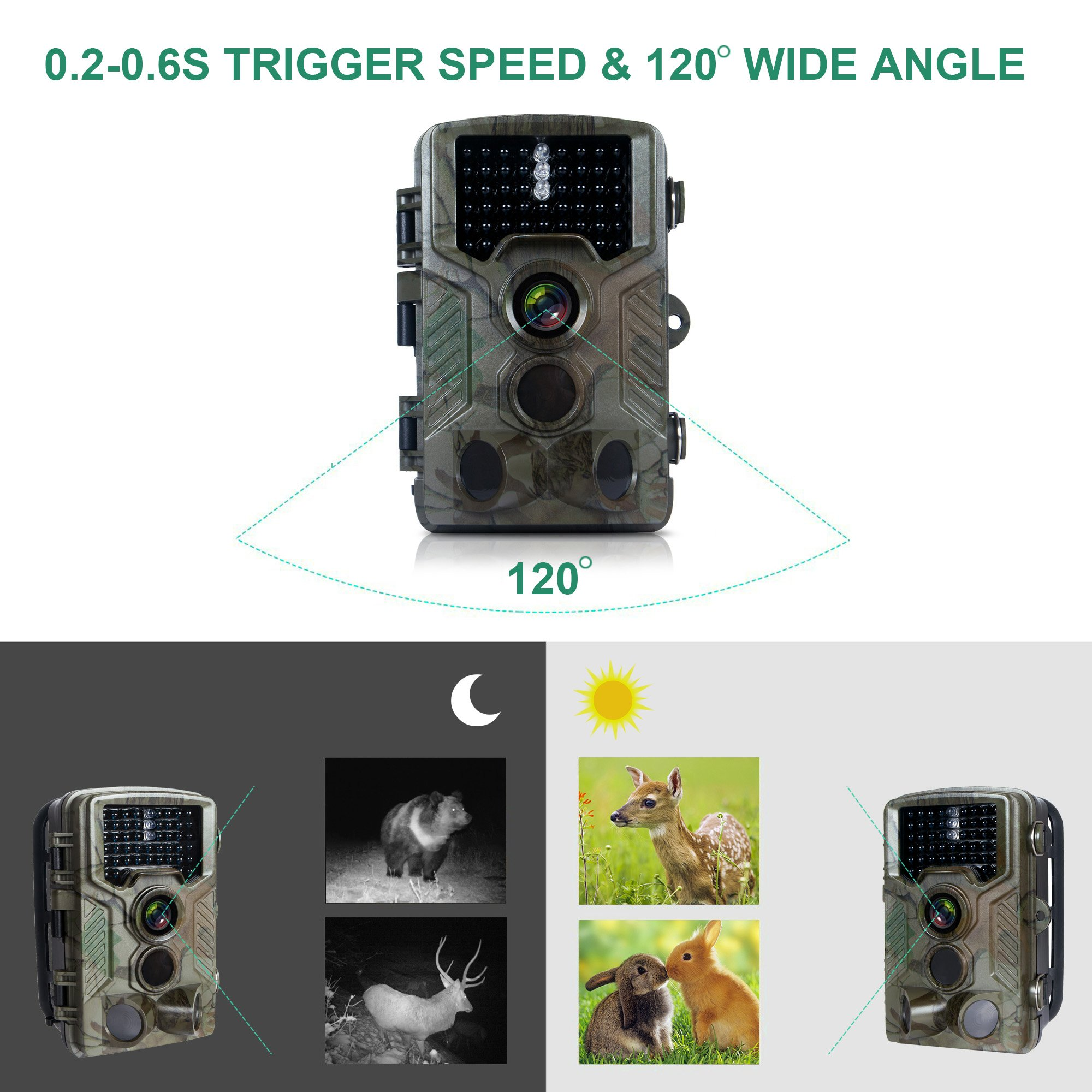 FLAGPOWER Hunting Trail Camera, 16MP 1080P 0.2s Trigger Time Wildlife Game Camera with 2.4'' LCD 850nm Upgrading IR LEDs Night Vision up to 75ft/2.3m IP56 Spray Water Protected Design by FLAGPOWER (Image #4)