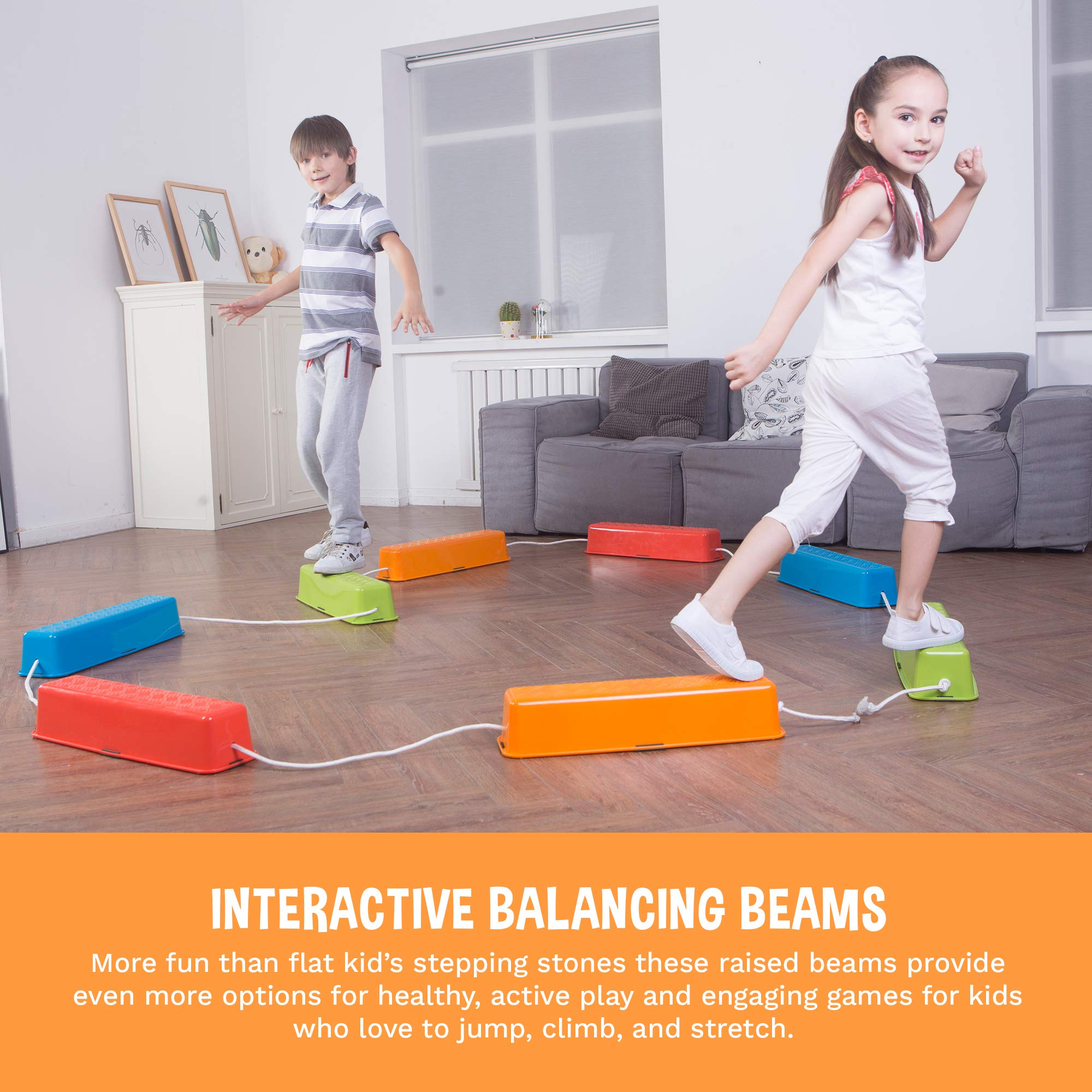 Colorful Set of 5 Wave Balance Blocks Promote Coordination Early Educational Toys for Boys Girls Balance Stepping Stones for Kids 5 Different Size