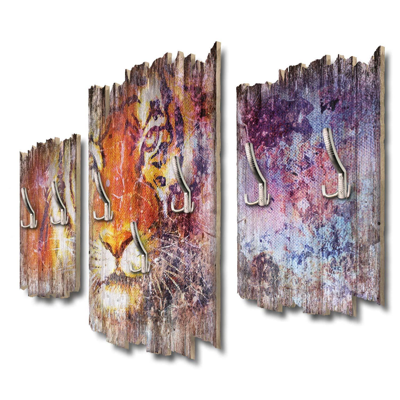 Kreative Feder Tiger Designer Wandgarderobe Flurgarderobe Wandpaneele 95 x 60 cm aus MDF DTGH105