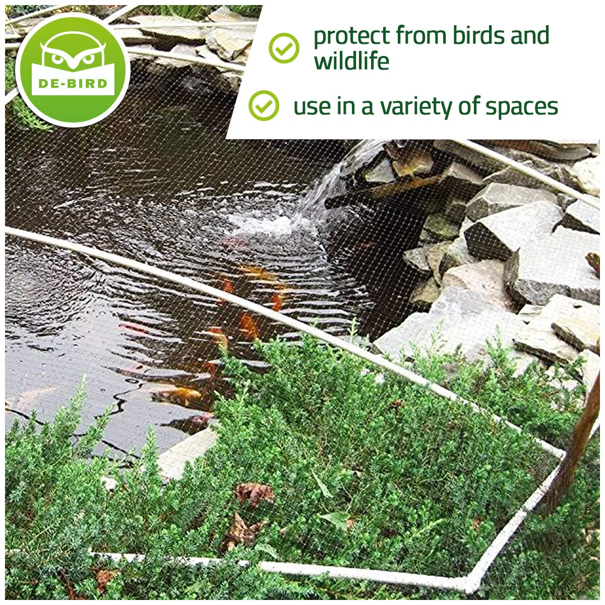Bird Netting [Heavy Duty] Protect Plants and Fruit Trees - Extra Strong Garden Net is Easy to Use, Doesn't Tangle and Reusable - Lasting Protection Against Birds, Deer and Other Pests (7.5x65 Foot) by De-Bird (Image #4)
