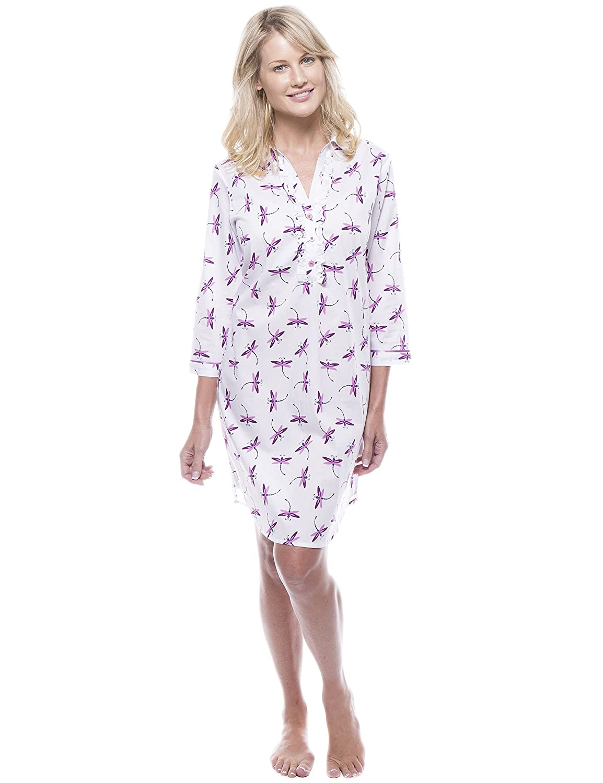 6a05c1a3aa Noble Mount Women s 100% Cotton Poplin Long Sleeve Tunic Sleep Shirt   Amazon.ca  Clothing   Accessories