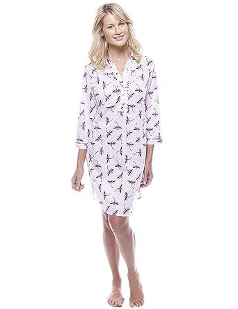 cd8b4fc7bb Noble Mount Women s 100% Cotton Poplin Long Sleeve Tunic Sleep Shirt ...