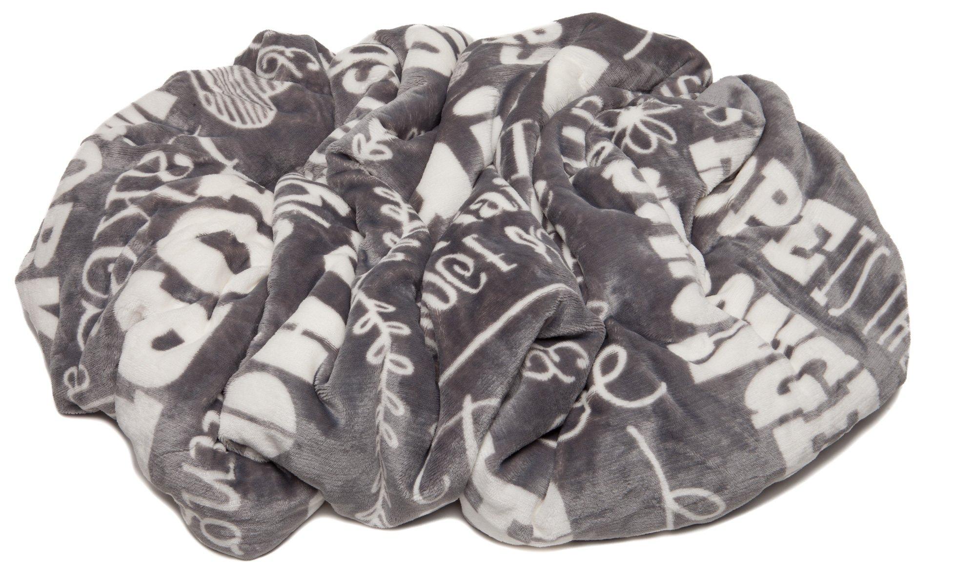 Chanasya Hope and Faith Inspirational Message Print Super Soft Ultra Plush Cozy Fleece Microfiber Sherpa Posivite Energy Comfort Caring Uplifting Gift Throw Blanket - for Women Men - Grey Blanket by Chanasya (Image #5)