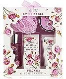 Bath Gift Basket - Spa Gift Set, Bath and Body Set with Bulgaria Rose Garden Fragrance Includes Bath Puff, Body Butter…