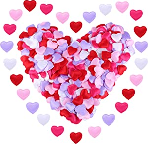 600 Pieces Heart Confetti Decorations Love Valentine's Day Confetti Romantic Heart Shaped Decor for Wedding Heart Table Scatter Anniversary, Thanksgiving, Christmas, New Year (Mixed Color)