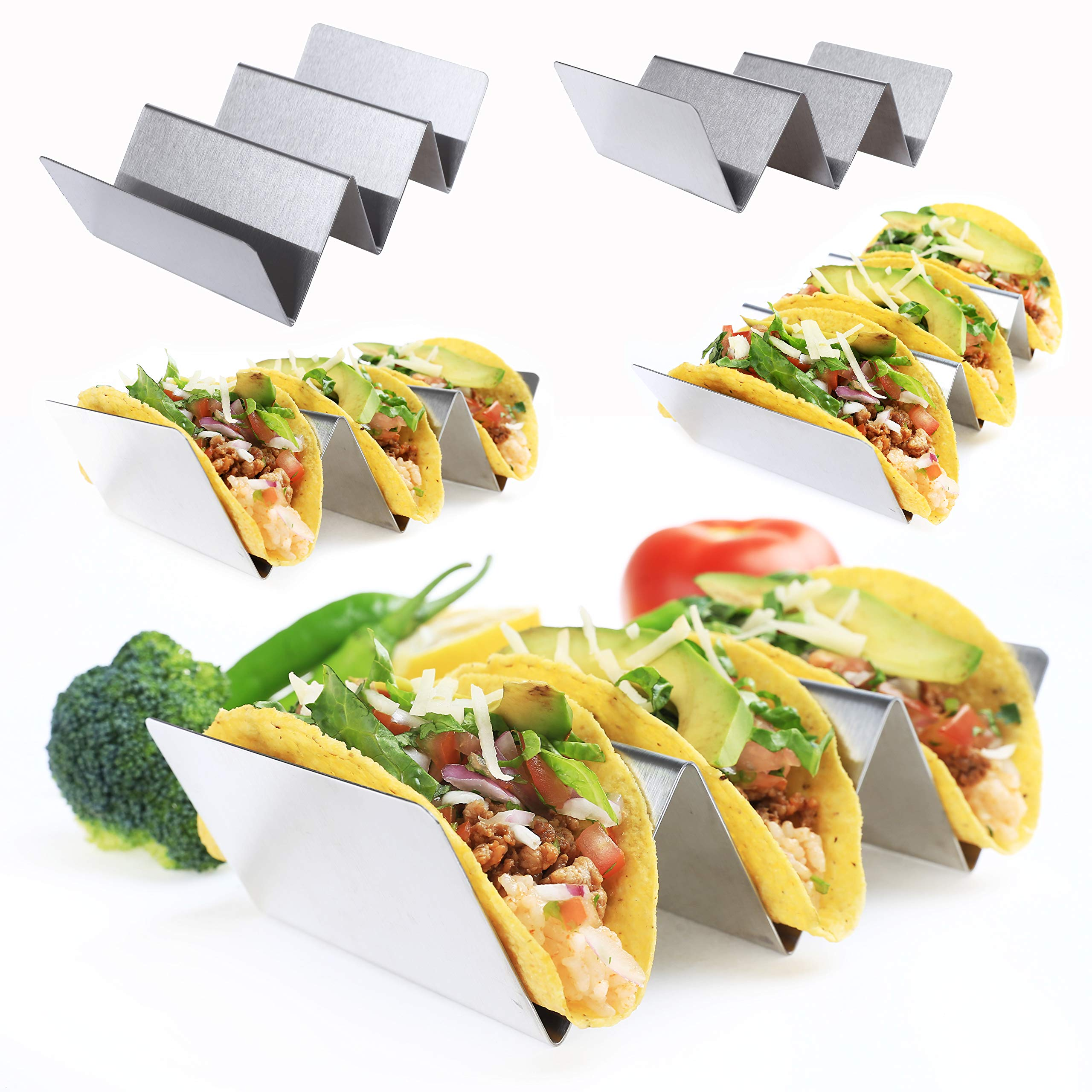 DeELF 5 Packs Taco Holders Stainless Steel Taco Stand Metal Taco Rack, Hold Up to 15 Tacos, Oven and Dishwasher Safe