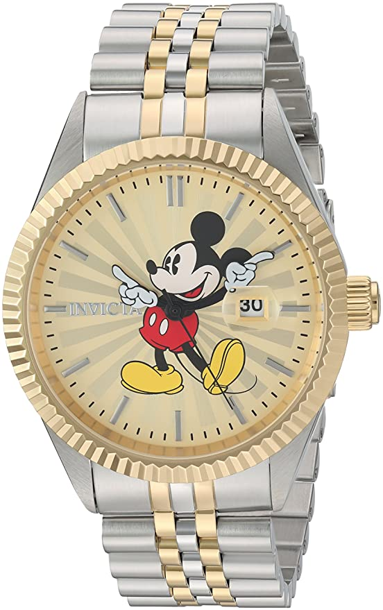 Invicta 22772 Disney Limited Edition - Mickey Mouse Men's Wrist Watch Stainless Steel Quartz Gold Dial