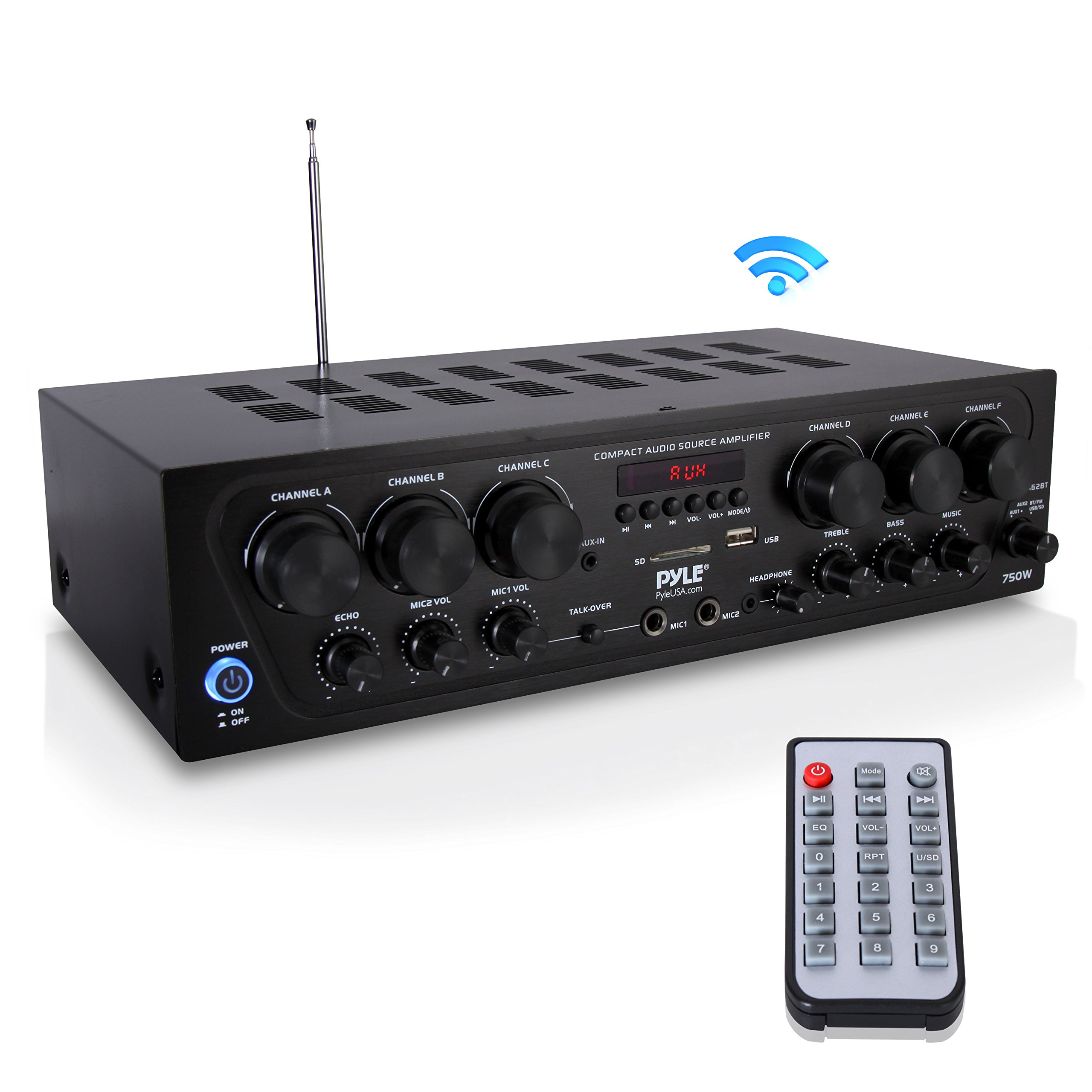 Bluetooth Home Audio Amplifier System - Upgraded 2018 6 Channel 750 Watt Wireless Home Audio Sound Power Stereo Receiver w/ USB, Micro SD, Headphone, 2 Microphone Input w/ Echo, Talkover for PA - Pyle by Pyle