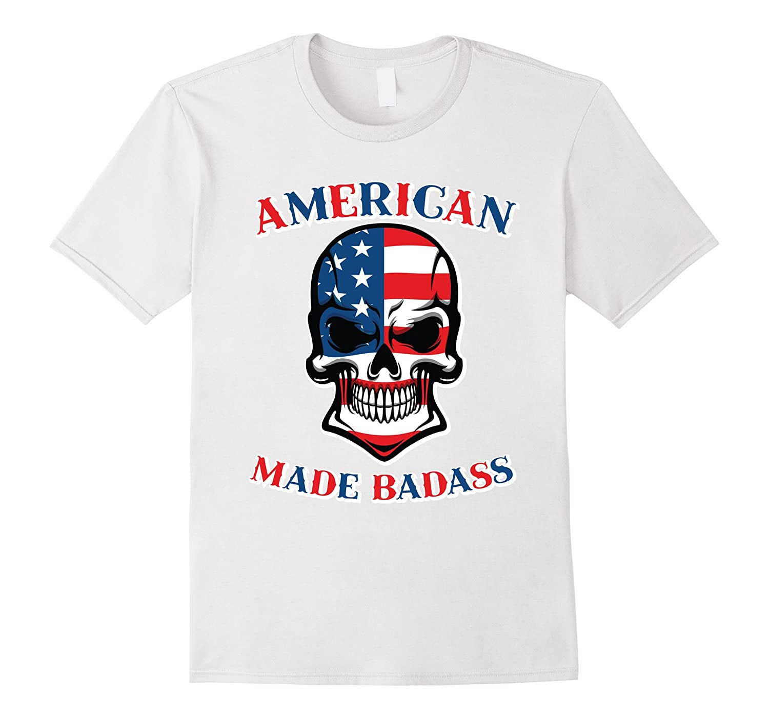American Made Badass T-Shirt - 4th Of July USA Flag Skull-TD