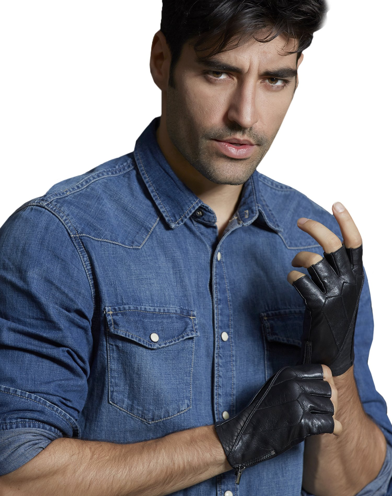 Fioretto Cool Gifts Mens Leather Gloves Fingerless Driving Motorcycle Genuine Leather Gloves Sport Half Finger Men's Leather Gloves Unlined Mens gifts Black S/M