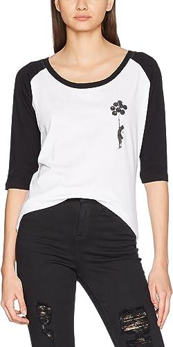 MERCHCODE Merch Código Mujer Banksy Balloons Raglan tee–Camiseta