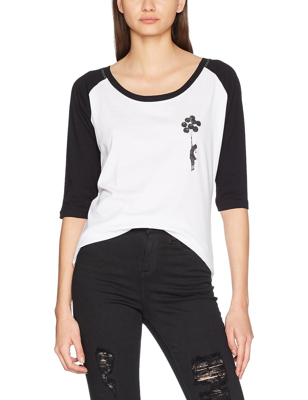 TALLA XS. MERCHCODE Merch Código Mujer Banksy Balloons Raglan tee–Camiseta