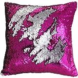 "Mermaid Pillow Case, Play Tailor Magic Reversible Sequin Pillow Cover Throw Cushion Case 16""X16""(Silver-Fuchsia)"