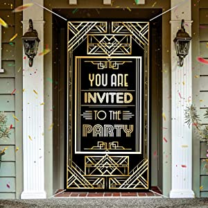 Roaring 20s Party Decoration Large Fabric Retro You Are Invited To The Party 1920s Photo Door Banner Backdrop 20's Vintage Black Gold Sign Background for Jazz Party Door Decoration, 6 x 3 Feet